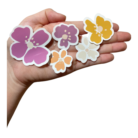 Purple and Creamy White Flowers Waterproof Stickers Set