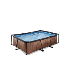 EXIT Wood pool with filter pump - brown