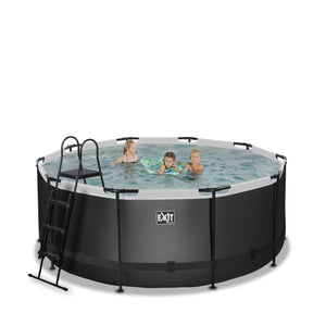EXIT Black Leather pool with filter pump - black