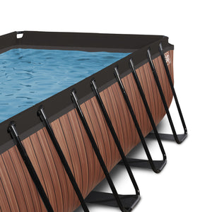 EXIT Wood pool 400x200x122cm, 540x250x122cm with filter pump - brown