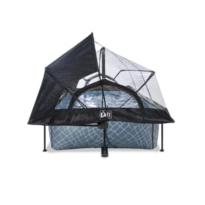 EXIT Stone pool 220x150x65cm, 300x200x65cm with dome, canopy and filter pump - grey