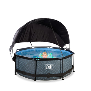 EXIT Stone pool ø244x76cm, ø300x76cm, ø360x76cm with canopy and filter pump - grey