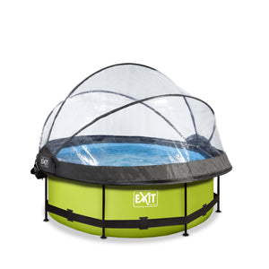 EXIT Lime pool ø244x76cm, ø300x76cm, ø360x76cm with dome, canopy and filter pump - green