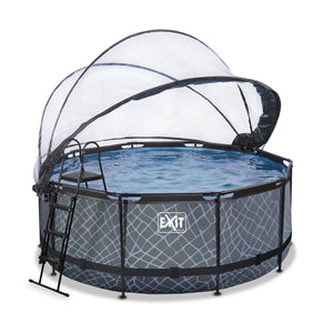 EXIT Stone pool with dome and sand filter pump - grey