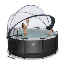 Load image into Gallery viewer, EXIT Black Leather pool with dome and sand filter and heat pump - black