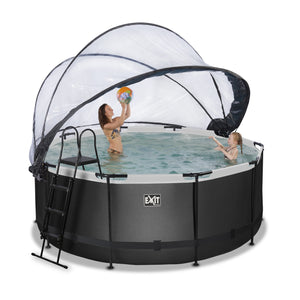 EXIT Black Leather pool with dome and sand filter and heat pump - black