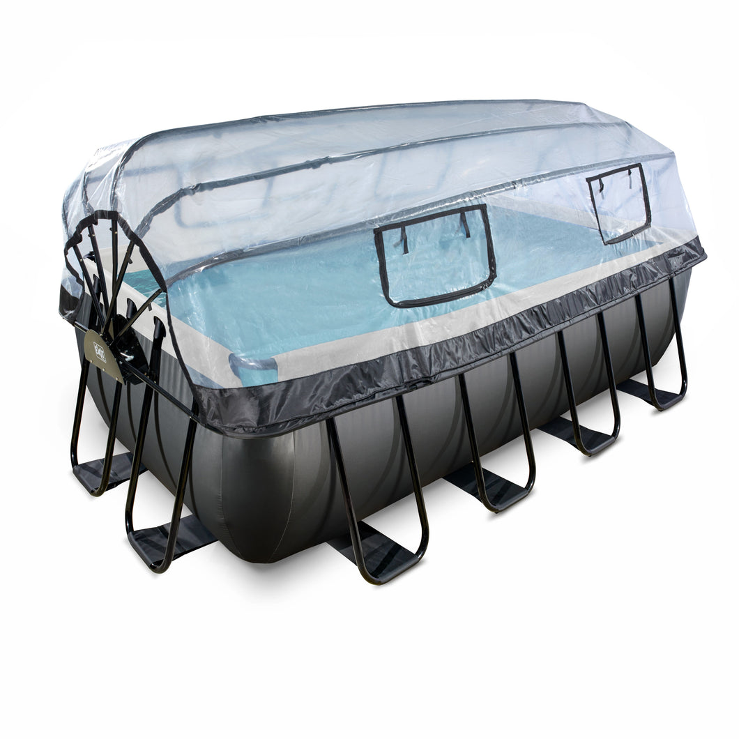 EXIT Black Leather pool 400x200x122cm, 540x250x122 cm with dome and sand filter pump - black