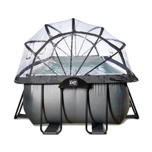 Load image into Gallery viewer, EXIT Black Leather pool 400x200x122cm, 540x250x122 cm with dome and sand filter pump - black