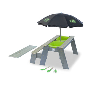 EXIT Aksent sand & water and picnic table (1 bench) with parasol and gardening tools