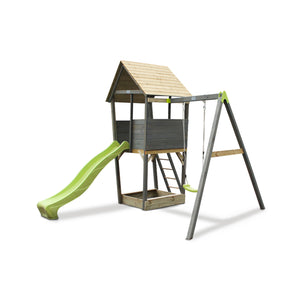 EXIT Aksent wooden play tower with a 1-seat swing - grey