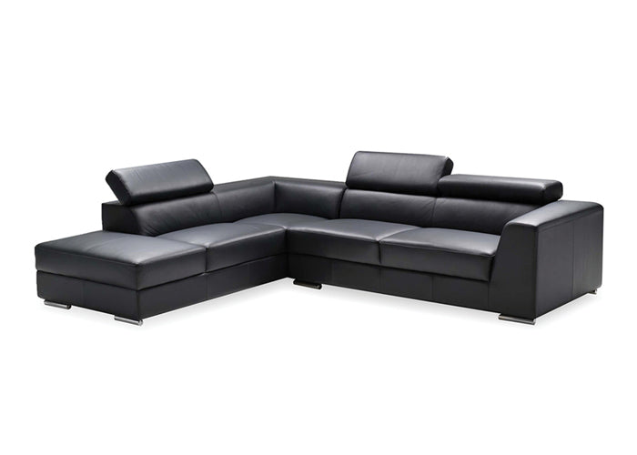 ICON LEATHER SECTIONAL BLACK
