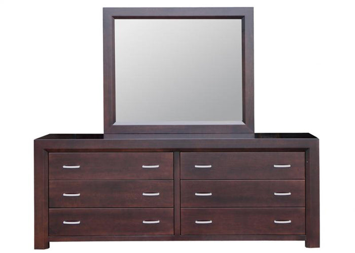 Contempo 6 Drawer Long Dresser & Mirror