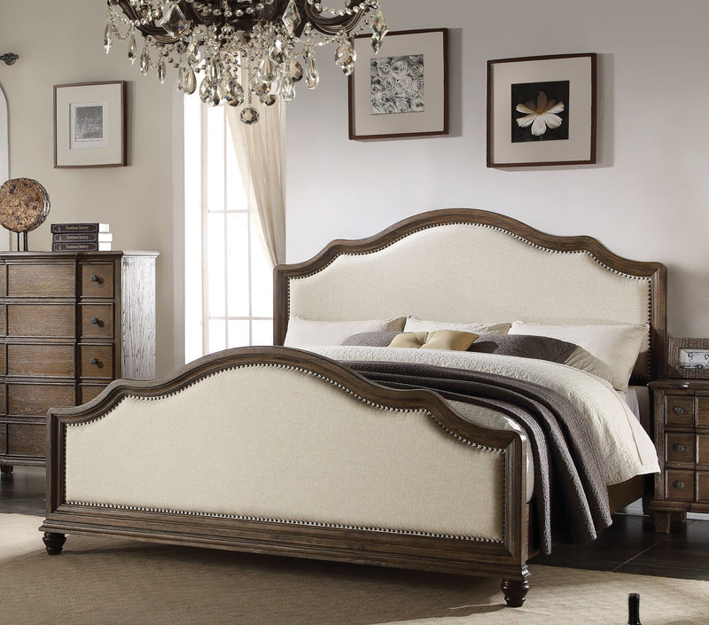 Acme Baudouin Upholstered Queen Bed in Weathered Oak 26110Q image