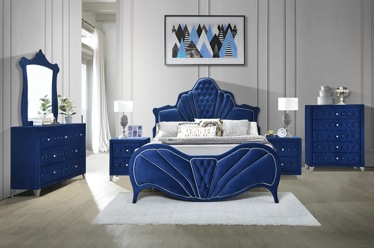 Dante Blue Velvet Queen Bed image