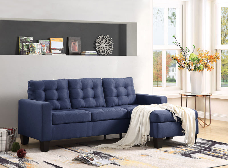 Earsom Blue Linen Sectional Sofa (Rev. Chaise) image