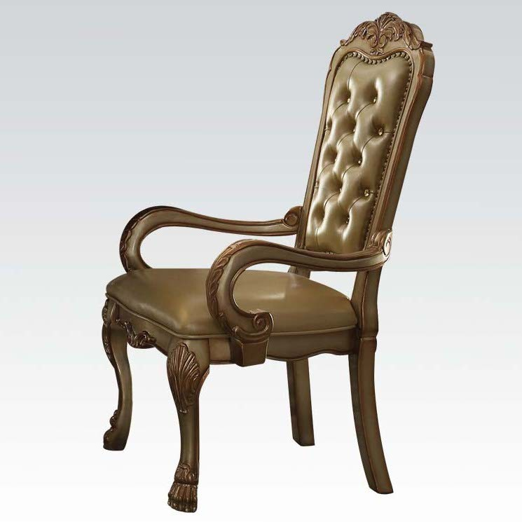 Acme Dresden Arm Chair in Gold Patina (Set of 2) 63154 image