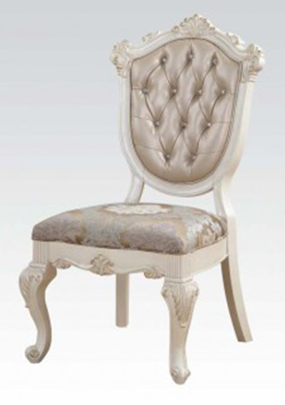 Acme Chantelle Side Chair in Rose Gold and Pearl White (Set of 2) 63542 image