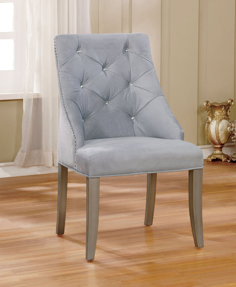 DIOCLES Silver/Light Gray Side Chair (2/CTN)