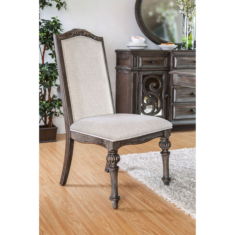ARCADIA Rustic Natural Tone/ Ivory Side Chair (2/CTN)