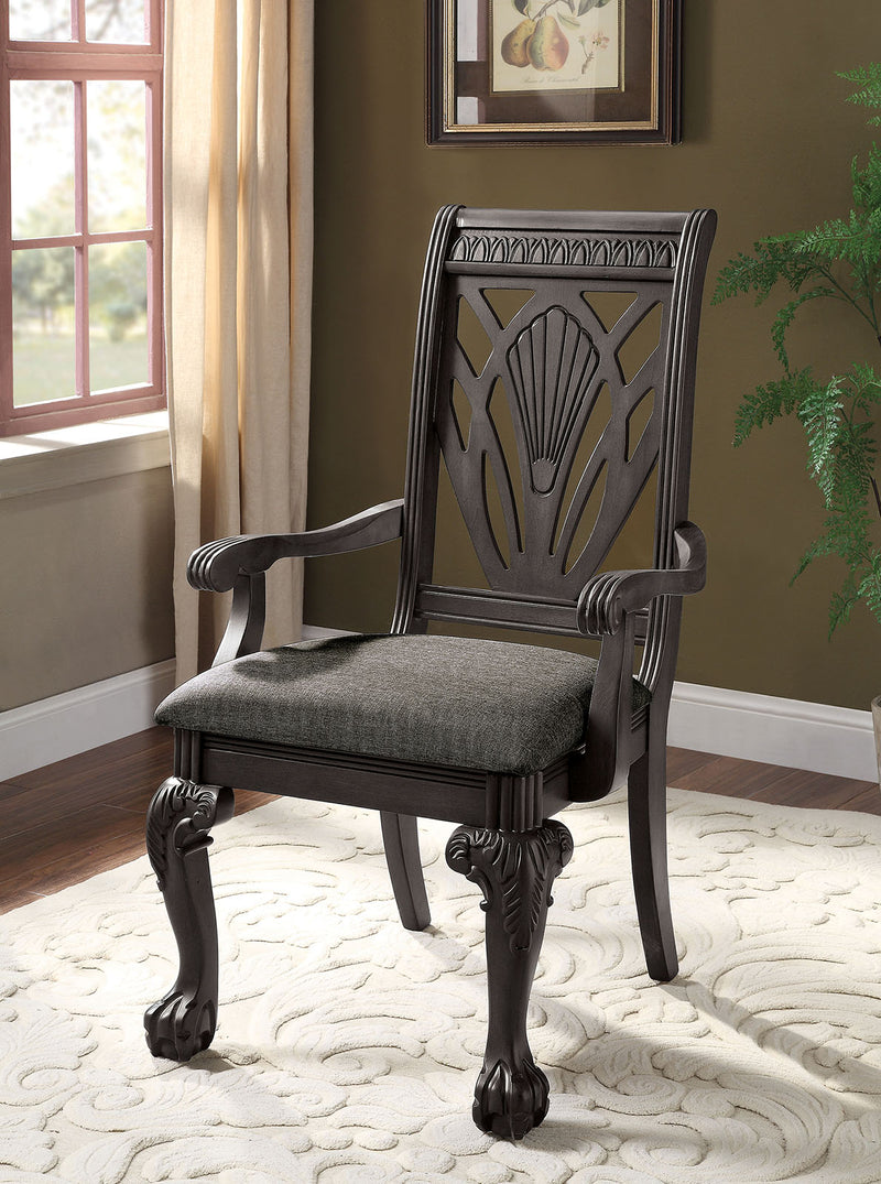 Petersburg Dark Gray Arm Chair (2/CTN)