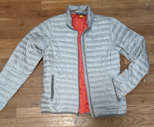 Eddie Bauer Puffy Jacket - Grey/Coral, size XS