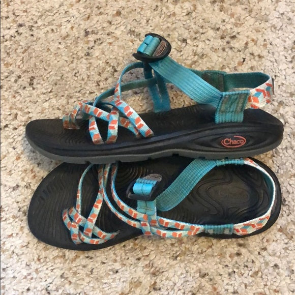 Chaco Z/Volv X2 Sport Sandals - Orange and Blue, size 8