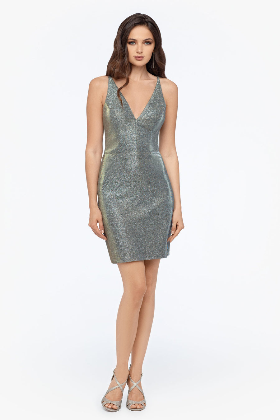 Short Slim Metallic Deep V Dress