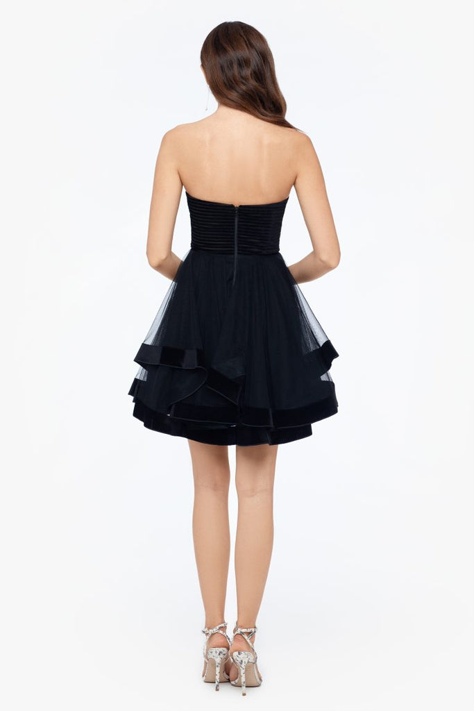 Short Pipped Velvet Party Dress