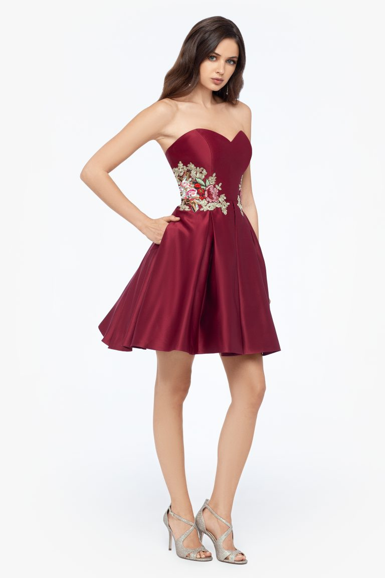 Short Strapless Side Applique Party Dress