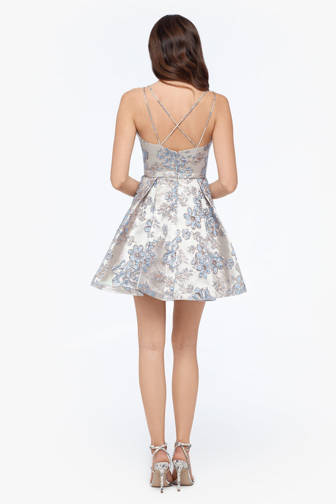Short Scoop Neck Brocade Party Dress