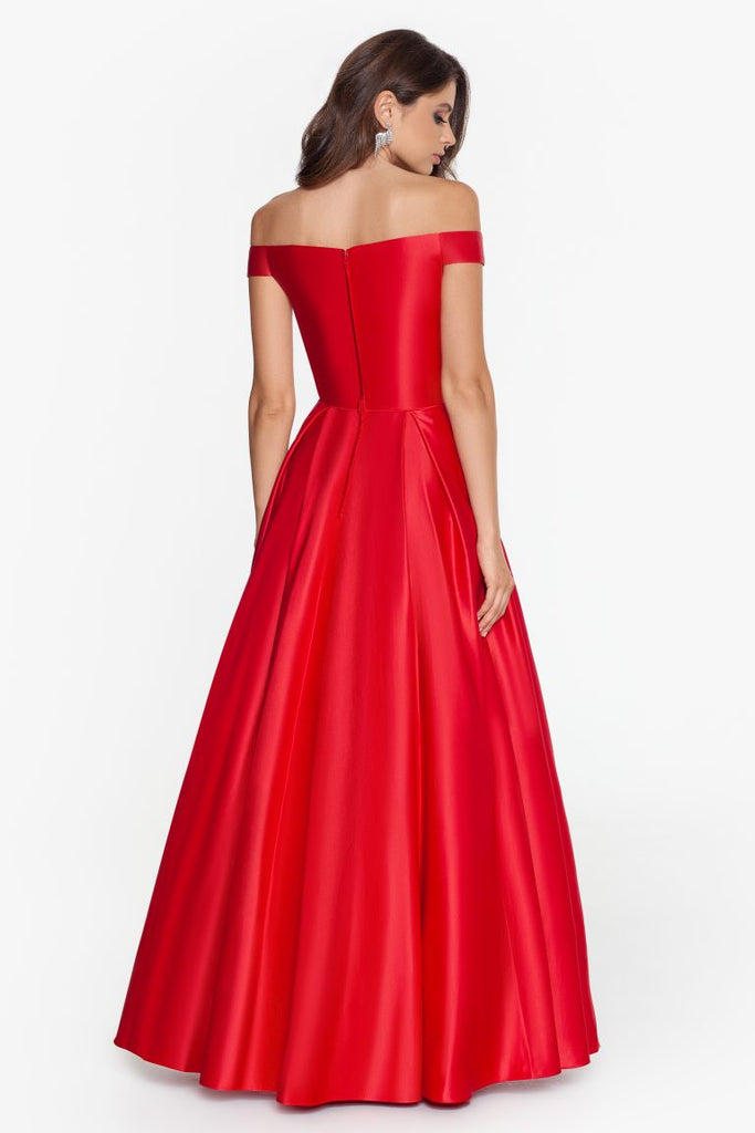 Long Off-The-Shoulder Satin Ballgown Pocket Details