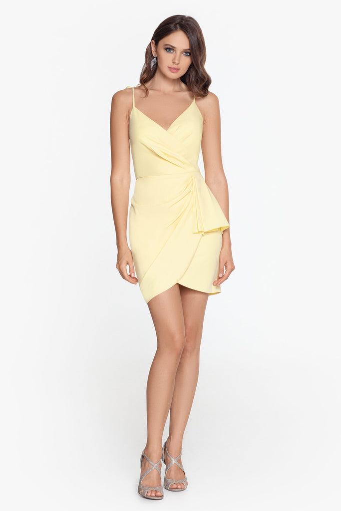 Short Scuba Crepe Wrap Ruffle Dress