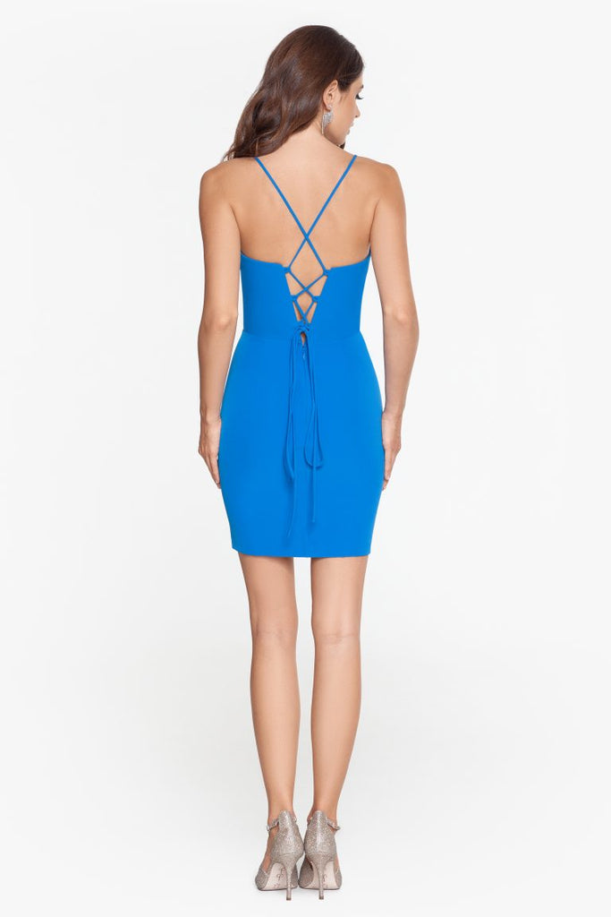 Short Scuba Lace Up Back Dress