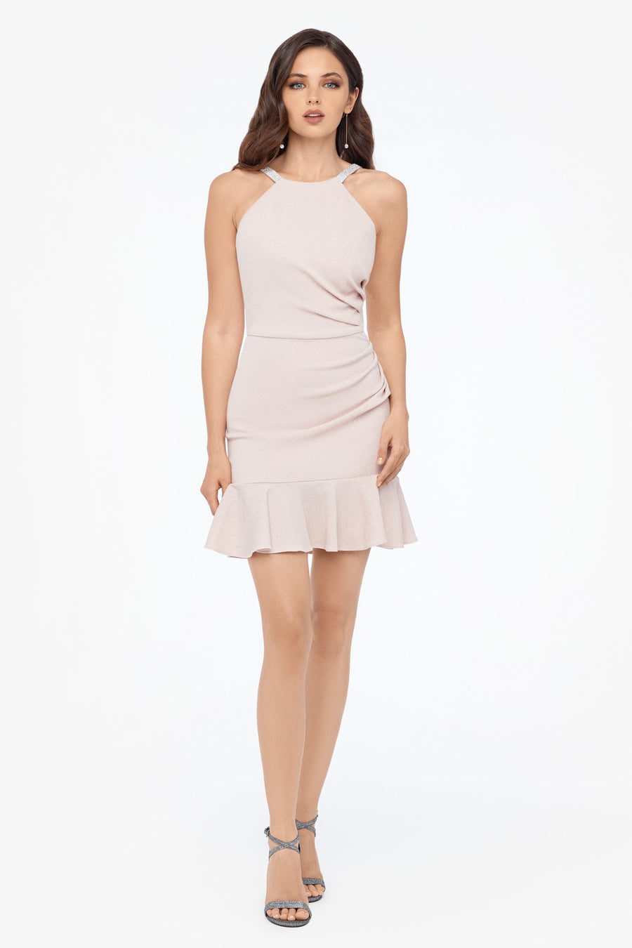 Short High Neck Ruffle Hem Dress