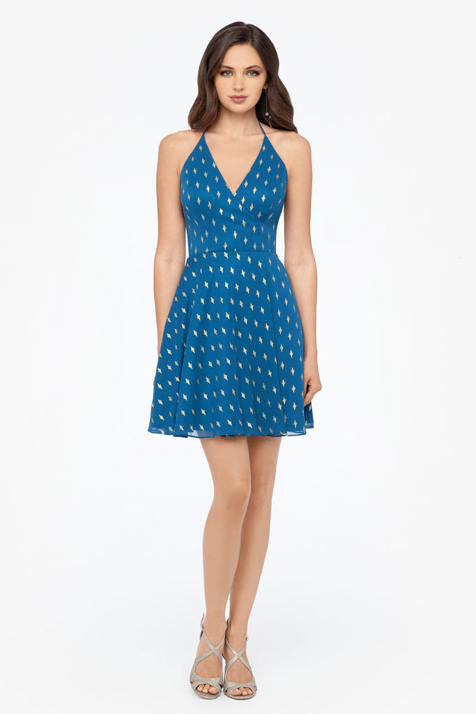 Short Tie Neck Surplus Dot Dress