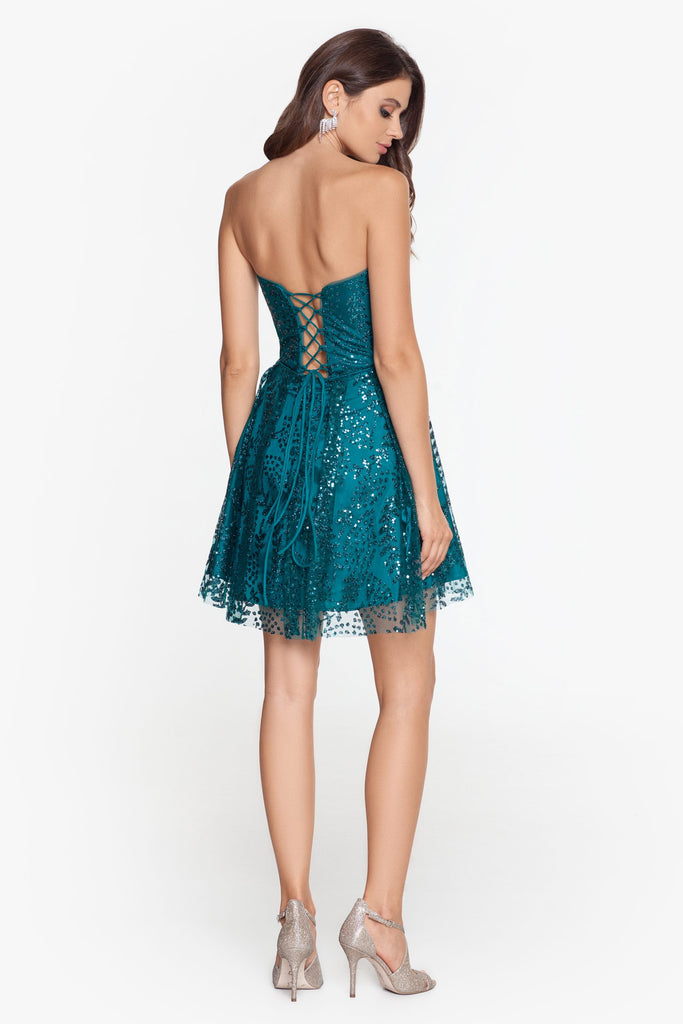 Short Glitter Mesh Lace Up Party Dress