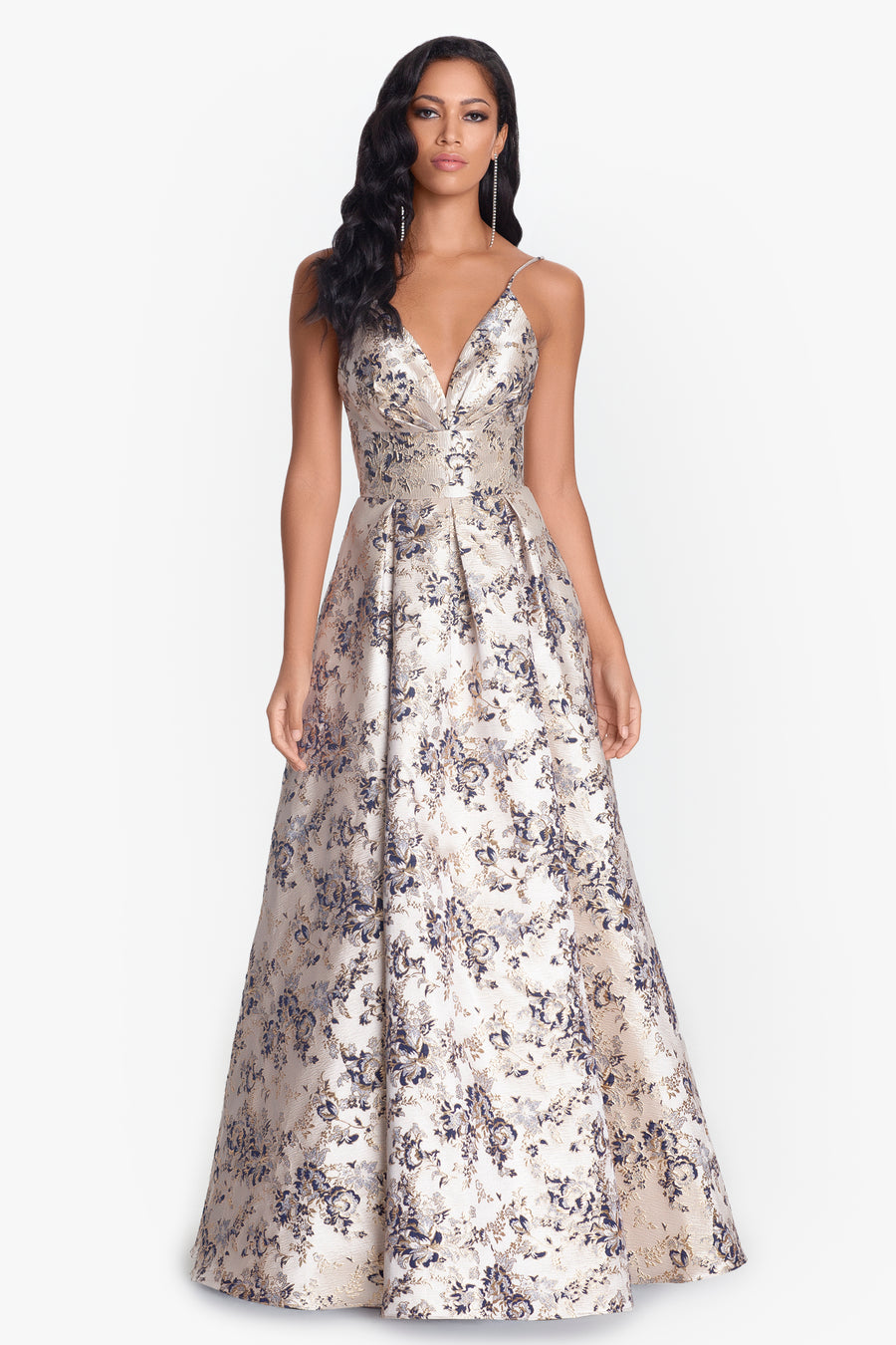 Brocade V-Neck Gown with X Back Detail