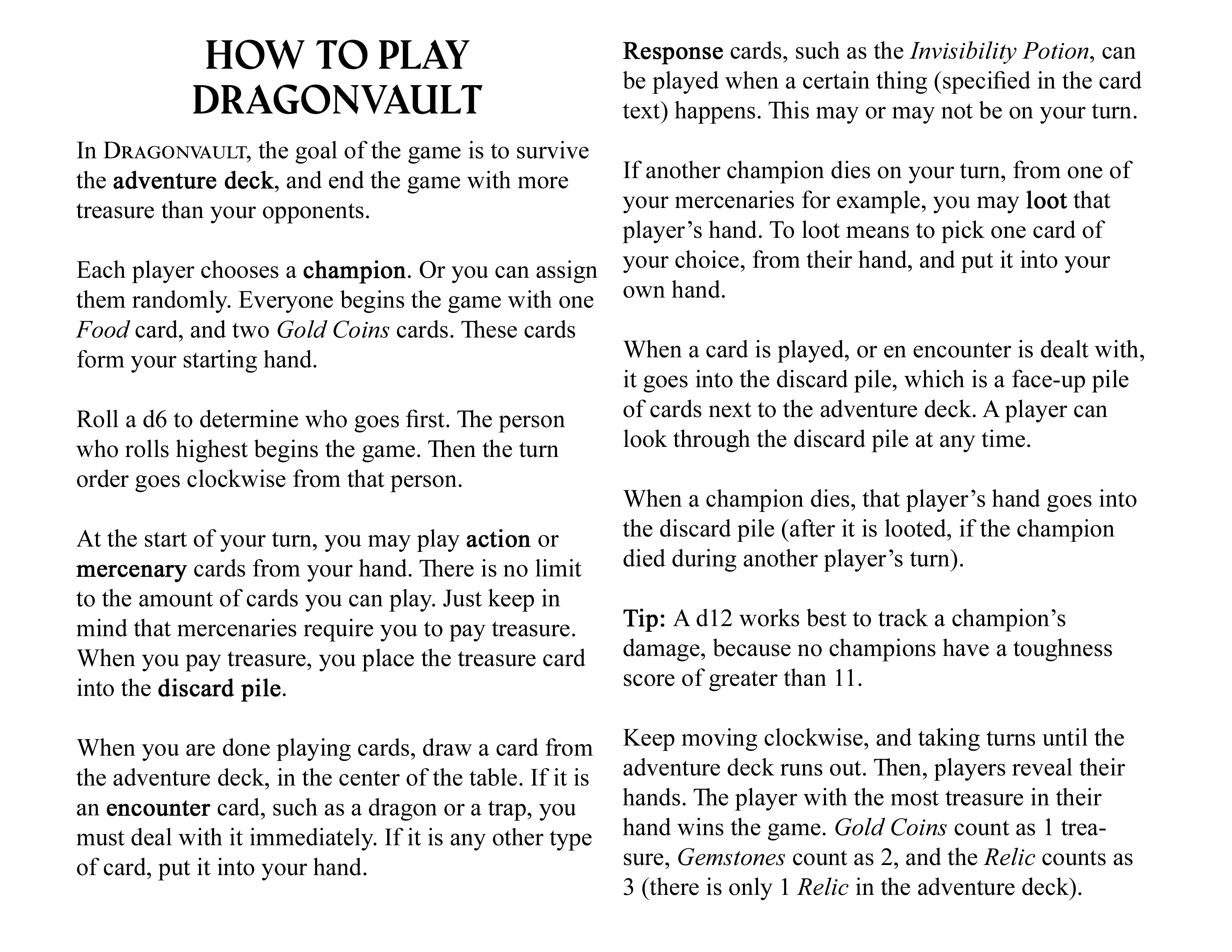 How to Play Dragonvault