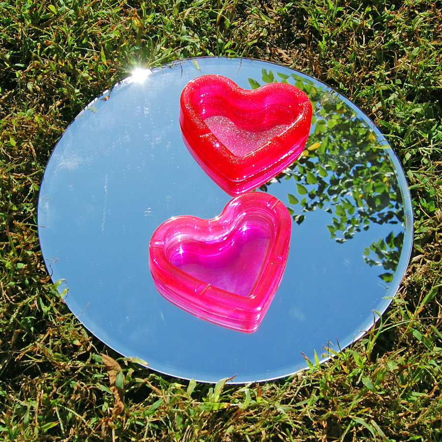 Red Glitter Heart Ash Tray
