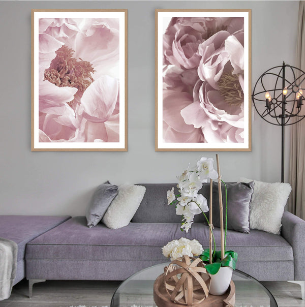 Set of 2 - Dusty Pink Peonies  & No.2 Photographic Wall Art Print or Poster By The Paper Tree.