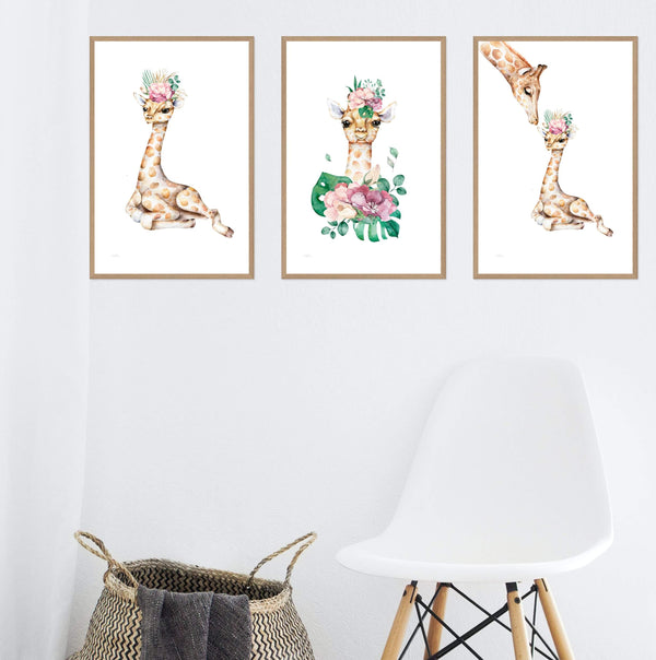 Baby Giraffe Gallery Art Print Set No.1 Photographic Wall Art Print or Poster By The Paper Tree.