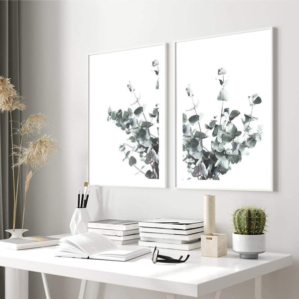 Set of 2 - Eucalyptus Leaves  & No.2 Photographic Wall Art Print or Poster By The Paper Tree.