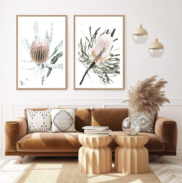 Set of 2 - Australian Native Banksia Floral  & No.2 Photographic Wall Art Print or Poster By The Paper Tree.