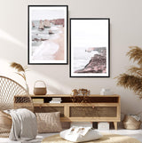 Set Great Ocean Road Art Prints, Framed A Black Timber Frame above a Buffet In A Living Room