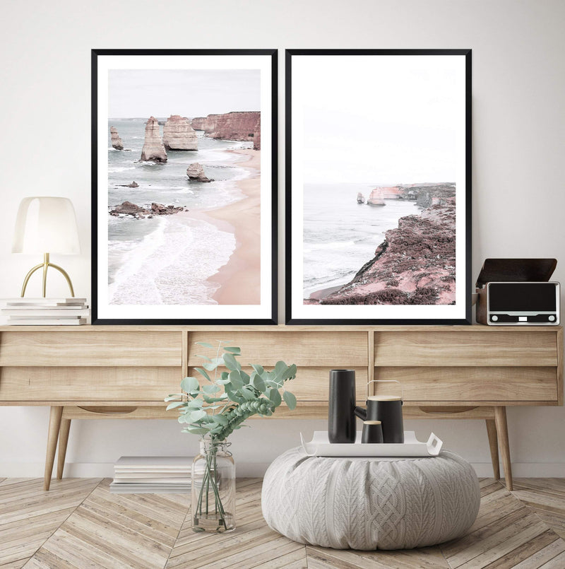 Set Of Great Ocean Road Art Prints, Framed In A Black Timber Frame above a Buffet In A Living Room