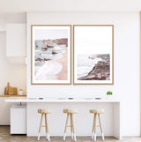 Set Great Ocean Road Art Prints, Framed A Natural Timber Frame above a kitchen Breakfast Bar