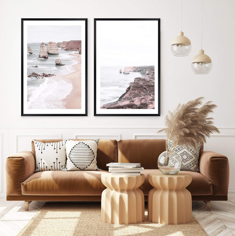 Set Great Ocean Road Art Prints, Framed A Black Timber Frame above Burnt Orange Lounge Sofa In A Living Room