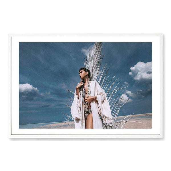 Tribal Woman In White Photographic Wall Art Print or Poster By The Paper Tree.
