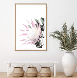 Pink King Protea Art Print in a Oak Frame in an Entry