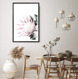 Pink King Protea Art Print in a Black Frame In a Dining Room